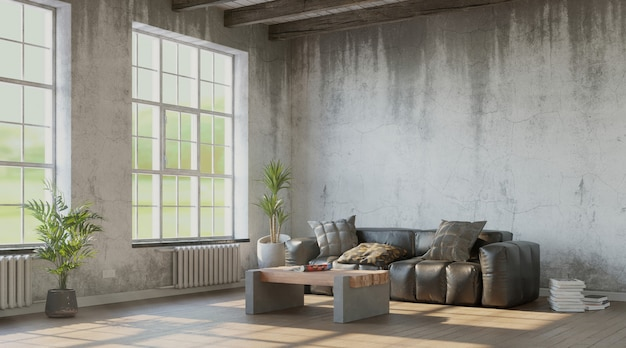 Living room with grungy walls and leather sofa industrial style 3d render