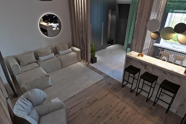 キッチン、廊下、ダイニングルーム、暖炉、木製パネル、大理石のあるリビングルーム
