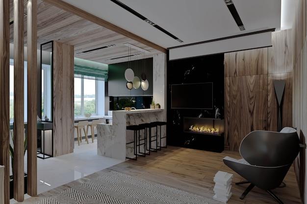 주방, 복도 및 식당, 벽난로, 목재 패널 및 대리석이있는 거실