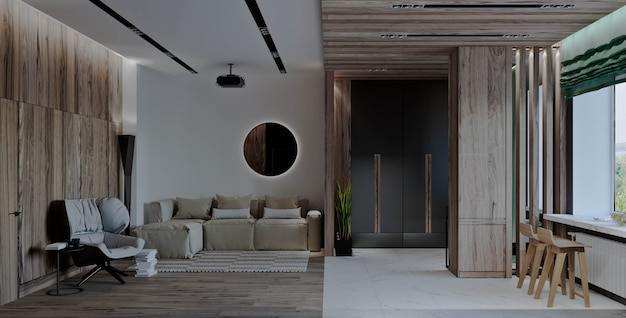 Гостиная с кухней, коридор и столовая, камин, деревянные панели и мрамор.