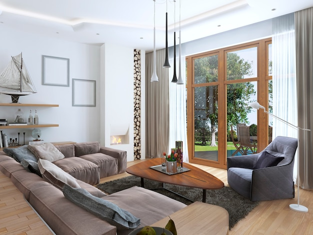 Living room with a large corner sofa from a fabric in a contemporary style and design spiral staircase leading to the second floor with soft armchair with a modern floor lamp.