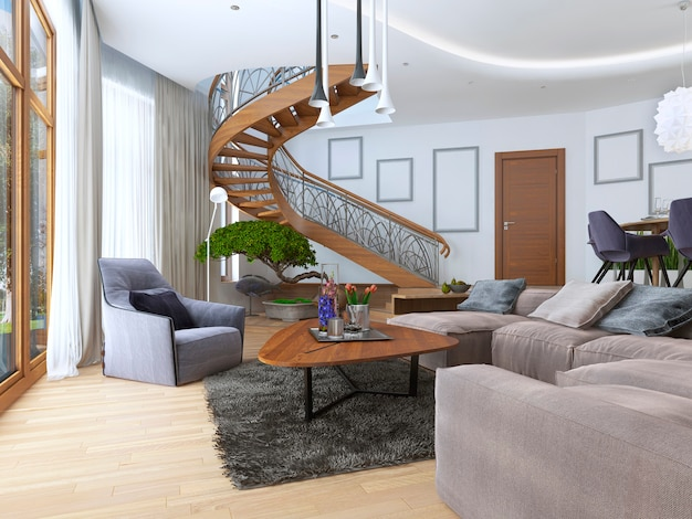 Living room with a large corner sofa from a fabric in a contemporary style with design spiral staircase leading to the second floor