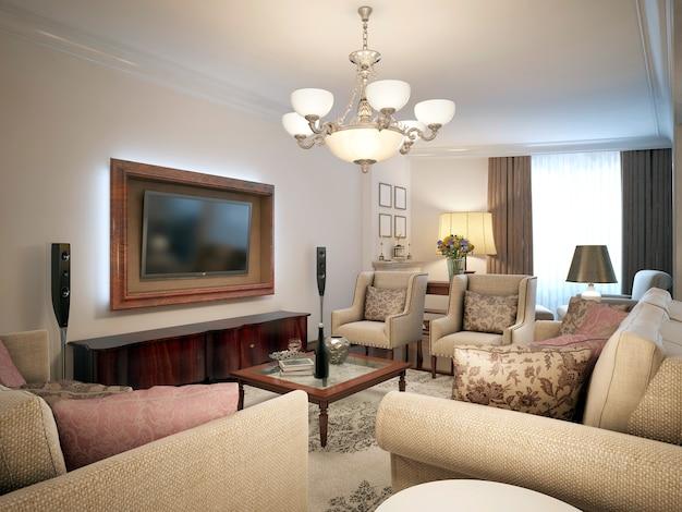 プロヴァンススタイルの軽い家具が置かれたリビングルーム。