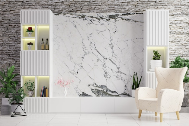 大理石のテレビキャビネット、植木鉢、アームチェア、白いレンガの壁のあるリビングルーム