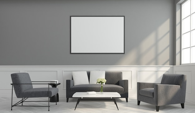 Living room with minimalist armchairs and sofa, picture frame and white wall cornice. 3d rendering