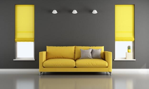モダンなソファとカーテン付きの2つの窓付きのリビングルーム