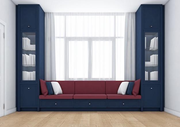 スカンジナビアの本棚と収納付きのリビングルーム。 3dレンダリング