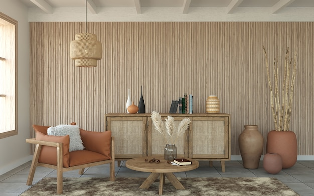 Living room with slatted wood wall and wood furniture, 3d rendering