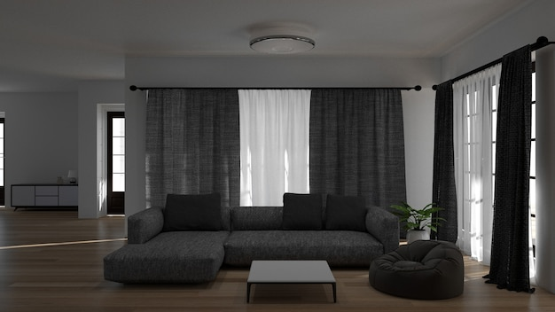 Living room with sofa 3d rendering lamp and green tree background interior