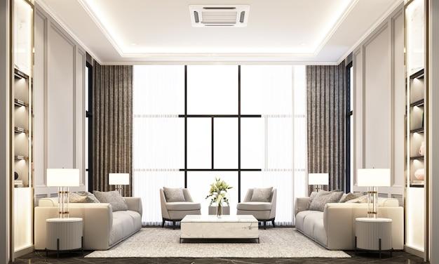 Гостиная с диваном, журнальным столиком и креслом на черном мраморном полу и классическим элементом декора стен и потолка 3d рендеринга