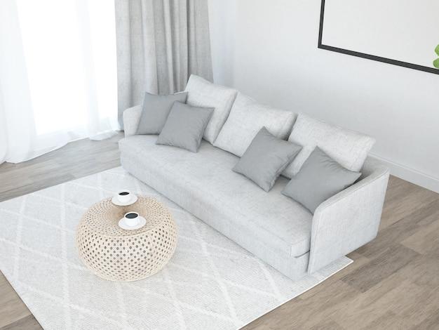 Living room with sofa curtains and big banana palm tree