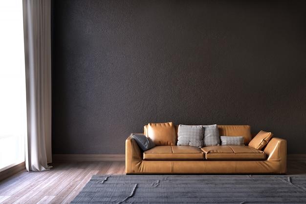 Living room with sofa and gray wall.