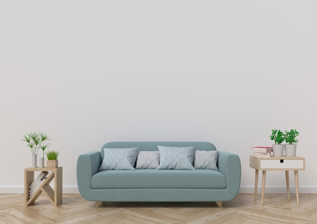 Living-room with sofa, plants and plaid on empty white wall background. 3d rendering.