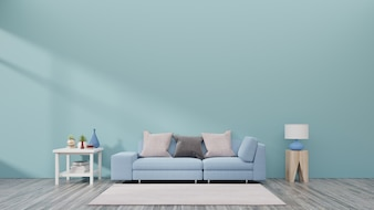 Living room with sofa, small shelf and plants have back blue wall background