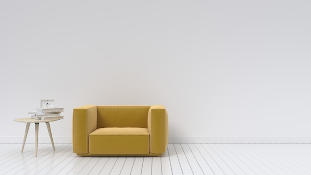 Living room with sofa yellow with white wall