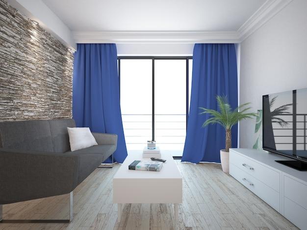 石の壁とカーテンのあるリビングルーム