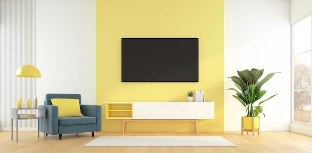 黄色の壁にテレビキャビネットとアームチェアサイドテーブルの3dレンダリングを備えたリビングルーム