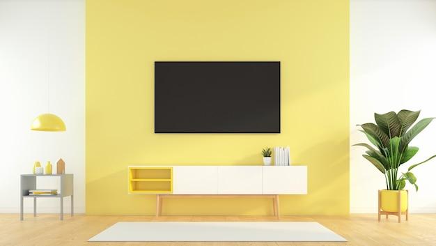 黄色の壁とサイドテーブル、緑の植物にテレビキャビネット付きのリビングルーム。 3dレンダリング