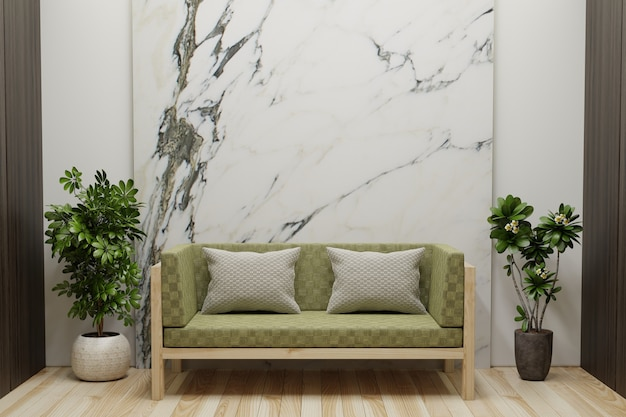 Living room with white marble walls is empty, decorated with plant pots on the side and a sofa on the wooden floor.3d rendering.