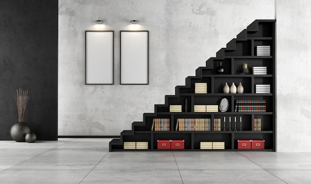 木製の階段と本棚のあるリビングルーム