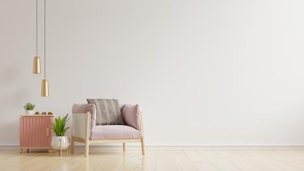 나무 테이블, 램프 및 분홍색 안락 의자, 3d 렌더링 거실