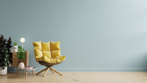 Living room with wooden table and yellow armchair on empty light blue wall background,3d rendering
