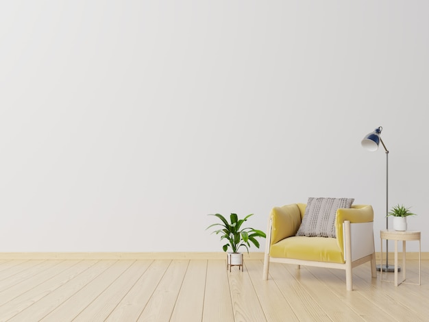Living room with yellow fabric armchair, book and plants