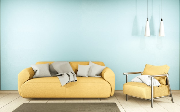 Living room with yellow sofa and decor on mint wall , 3d rendering