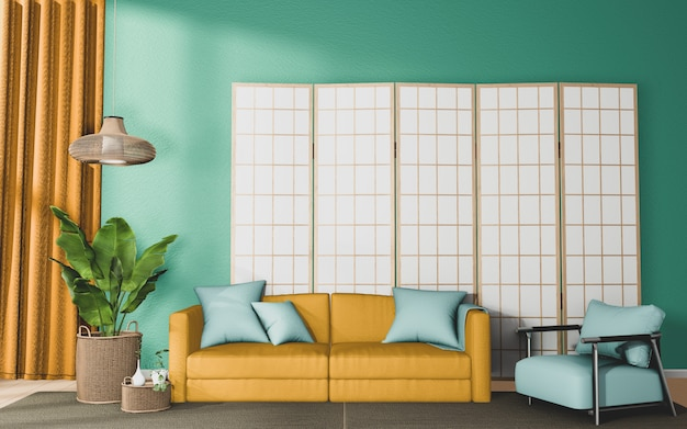 Living room with yellow sofa and decor on mint wall background, 3d rendering