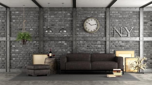 Livng room in a loft