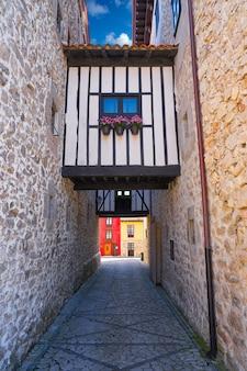 Llanes village facades in asturias spain
