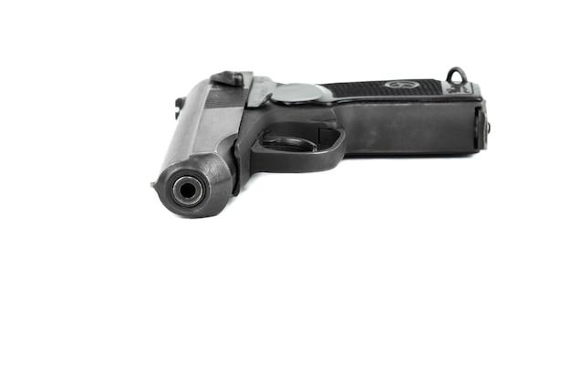 白い背景で隔離のロードされたロシアの銃