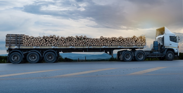 Loaded timber white trucks arriving and park on the asphalt road in a rural landscape