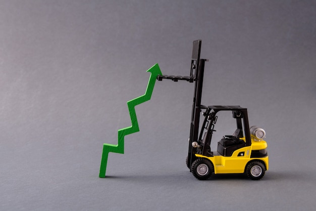 Loader vehicle deliver growing rising arrow pointing up