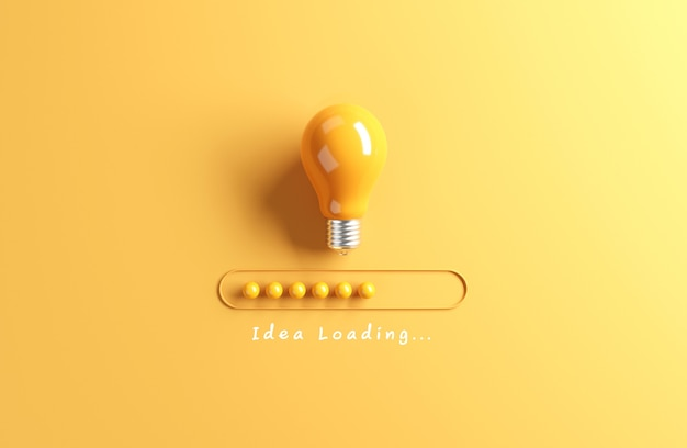 Loading bar almost complete with idea being processed on a light bulb on yellow background