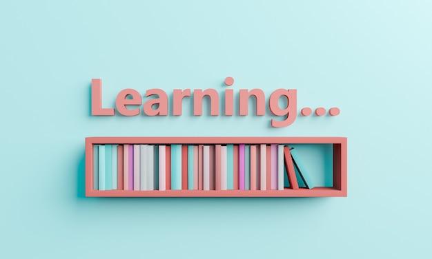 학습이라는 단어가 있는 선반에 책이 있는 로드 바. 학습 과정, 교육 및 학교로의 개념. 3d 렌더링