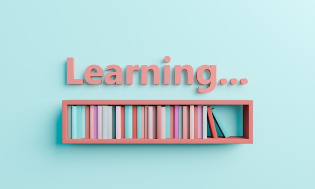 Loading bar with books on a shelf with the word learning. concept of learning process, education and back to school. 3d rendering