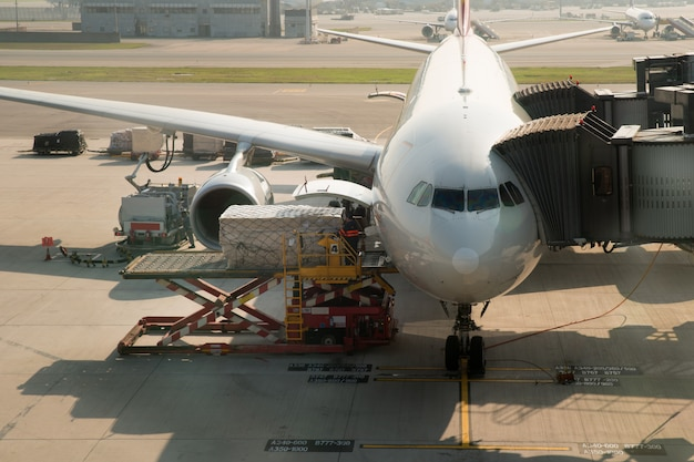 Loading cargo on plane in airport before flight.