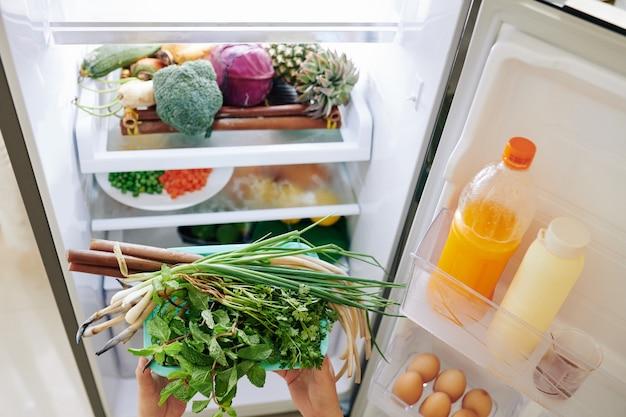 Loading fridge with food