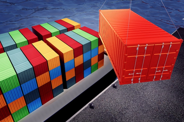 Loading orange container on freight ship in port