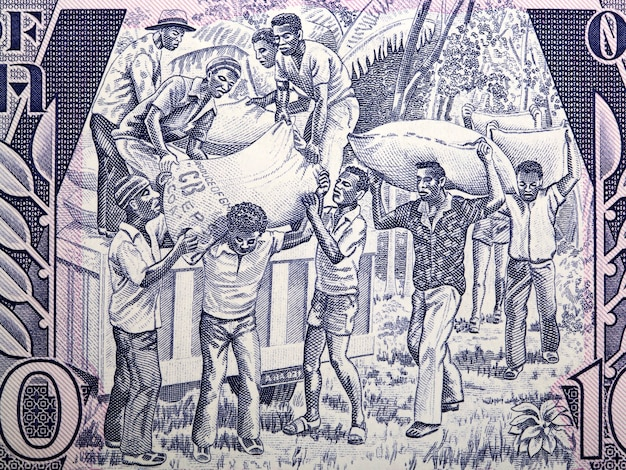 Loading produce from old ghanaian money