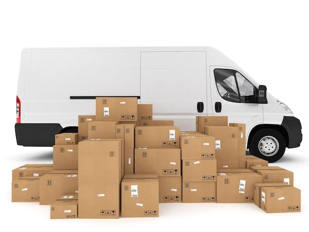 パックされた箱のスタックをトラックに積み込みます。 3dレンダリング
