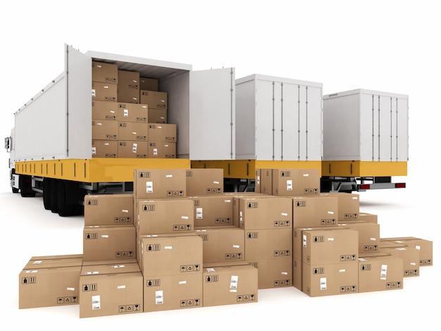 パックされた箱のスタックをトラックに積み込む