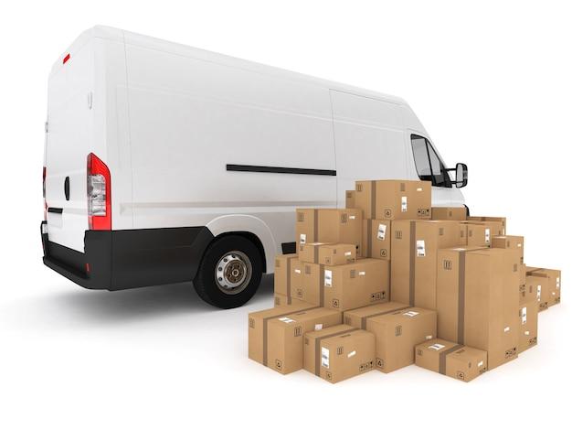 Погрузка штабеля упакованных ящиков на фургон. 3d-рендеринг