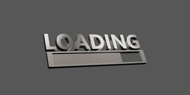 Loading text and symbols on a simple background 3d illustration