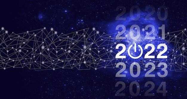 2021년부터 2022년까지 로드 중. 개념을 시작합니다. 2022년을 환영합니다. 비즈니스 새 해 카드 개념입니다. 성공 새 해 개념입니다. 비즈니스 관리, 영감 개념 아이디어입니다.