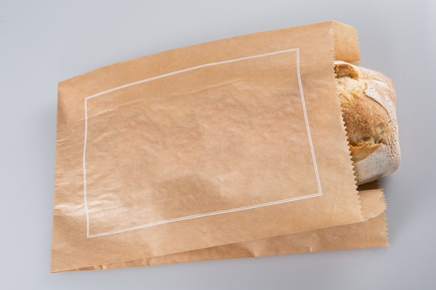 Loaf of bread in a grocey paper bag in european style