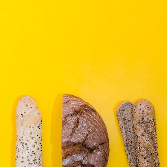 Loaf of bread with color background