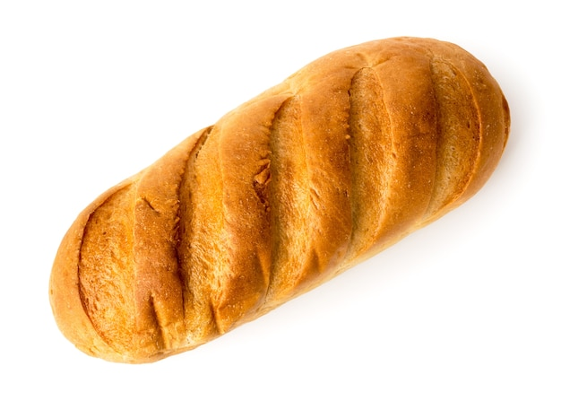 A loaf of fresh bread on white, isolated. top view.