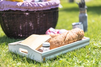 Loaf of bread; chopping board and salt shaker in tray on green grass